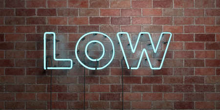 LOW - fluorescent Neon tube Sign on brickwork - Front view - 3D rendered royalty free stock picture. Can be used for online banner ads and direct mailers.