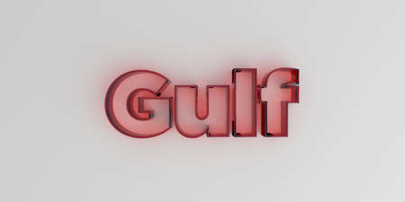 Gulf - Red glass text on white background - 3D rendered royalty free stock image.