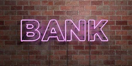 은행 - 형광등 네온 튜브 brickwork 전면보기 - 3D 렌더링 된 로열티 프리 스톡 사진을. 온라인 배너 광고 및 다이렉트 메일러에 사용할 수 있습니다.