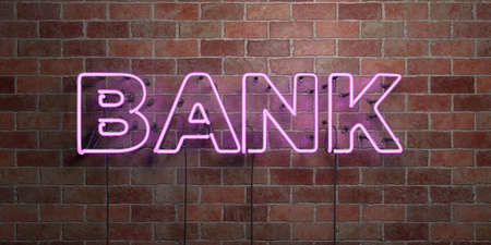 BANK - fluorescent Neon tube Sign on brickwork - Front view - 3D rendered royalty free stock picture. Can be used for online banner ads and direct mailers.