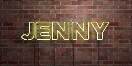 jenny: JENNY - fluorescent Neon tube Sign on brickwork - Front view - 3D rendered royalty free stock picture. Can be used for online banner ads and direct mailers. Stock Photo