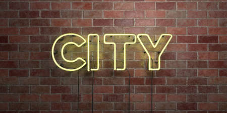 CITY - fluorescent Neon tube Sign on brickwork - Front view - 3D rendered royalty free stock picture. Can be used for online banner ads and direct mailers.
