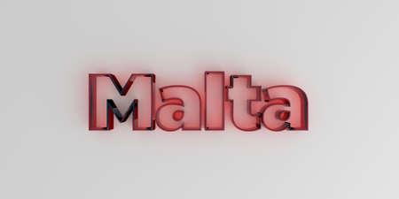 몰타 - 흰색 배경에 빨간색 유리 텍스트 -3D 렌더링 로열티 무료 재고 이미지. 스톡 콘텐츠