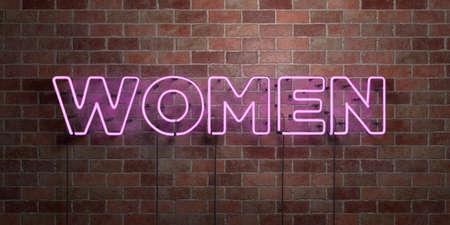 여자 - 형광등 네온 튜브 brickwork - 전면보기 - 3D에 서명하십시오. 로열티 프리 스톡 사진을 하나. 온라인 배너 광고 및 다이렉트 메일러에 사용할 수 있 스톡 콘텐츠