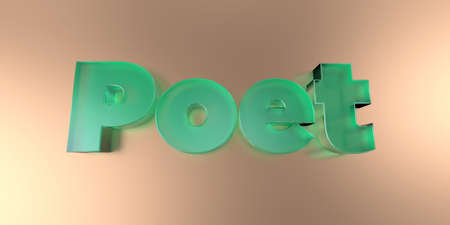 Poet - colorful glass text on vibrant background - 3D rendered royalty free stock image. Stock Photo