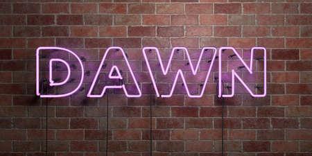 夜明け蛍光ネオン管サイン レンガ - 正面に 3 D レンダリングされたロイヤリティ フリー ストック画像。オンライン バナー広告やダイレクト メール