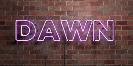 DAWN - fluorescent Neon tube Sign on brickwork - Front view - 3D rendered royalty free stock picture. Can be used for online banner ads and direct mailers.