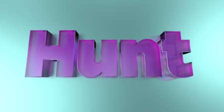 사냥 - 활기찬 배경에 다채로운 유리 텍스트 -3D 렌더링 로열티 무료 재고 이미지.