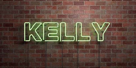 kelly: KELLY - fluorescent Neon tube Sign on brickwork - Front view - 3D rendered royalty free stock picture. Can be used for online banner ads and direct mailers.