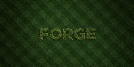 forge: FORGE - fresh Grass letters with flowers and dandelions - 3D rendered royalty free stock image. Can be used for online banner ads and direct mailers. Stock Photo