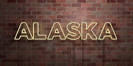 ALASKA - fluorescent Neon tube Sign on brickwork - Front view - 3D rendered royalty free stock picture. Can be used for online banner ads and direct mailers.