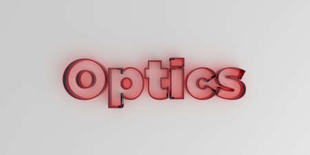 Optica - Rood glas tekst op witte achtergrond - 3D royalty-vrije stock beeld.