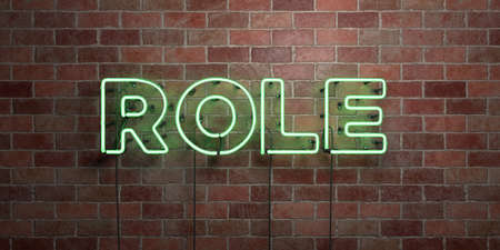 ROLE - fluorescent Neon tube Sign on brickwork - Front view - 3D rendered royalty free stock picture. Can be used for online banner ads and direct mailers. 스톡 콘텐츠