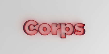 corps: Corps - Red glass text on white background - 3D rendered royalty free stock image.
