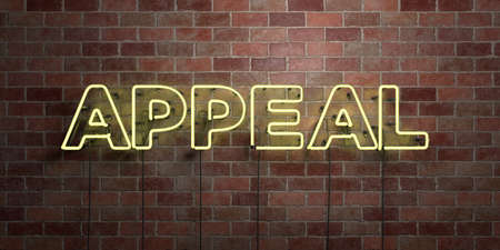 APPEAL - fluorescent Neon tube Sign on brickwork - Front view - 3D rendered royalty free stock picture. Can be used for online banner ads and direct mailers.
