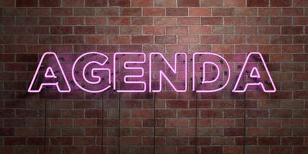 AGENDA - fluorescent Neon tube Sign on brickwork - Front view - 3D rendered royalty free stock picture. Can be used for online banner ads and direct mailers.