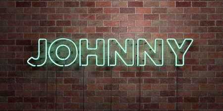 JOHNNY - fluorescent Neon tube Sign on brickwork - Front view - 3D rendered royalty free stock picture. Can be used for online banner ads and direct mailers.