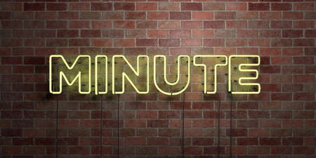 MINUTE - fluorescent Neon tube Sign on brickwork - Front view - 3D rendered royalty free stock picture. Can be used for online banner ads and direct mailers.