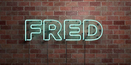 FRED - fluorescent Neon tube Sign on brickwork - Front view - 3D rendered royalty free stock picture. Can be used for online banner ads and direct mailers.