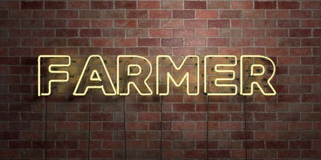 FARMER - fluorescent Neon tube Sign on brickwork - Front view - 3D rendered royalty free stock picture. Can be used for online banner ads and direct mailers.