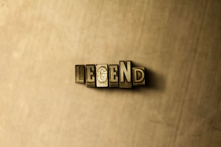 single word: LEGEND - close-up of grungy vintage typeset word on metal backdrop. Royalty free stock illustration.  Can be used for online banner ads and direct mail.