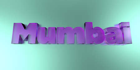 Mumbai - colorful glass text on vibrant background - 3D rendered royalty free stock image.