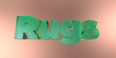 Rugs - colorful glass text on vibrant background - 3D rendered royalty free stock image.