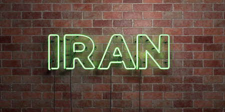 IRAN - fluorescent Neon tube Sign on brickwork - Front view - 3D rendered royalty free stock picture. Can be used for online banner ads and direct mailers.