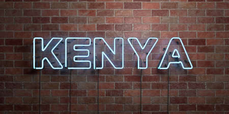 kenya: KENYA - fluorescent Neon tube Sign on brickwork - Front view - 3D rendered royalty free stock picture. Can be used for online banner ads and direct mailers.