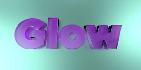 Glow - colorful glass text on vibrant background - 3D rendered royalty free stock image.
