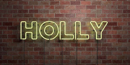 HOLLY - fluorescent Neon tube Sign on brickwork - Front view - 3D rendered royalty free stock picture. Can be used for online banner ads and direct mailers. Banque d'images