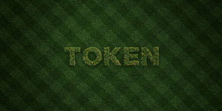 token: TOKEN - fresh Grass letters with flowers and dandelions - 3D rendered royalty free stock image. Can be used for online banner ads and direct mailers.