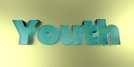 wording: Youth - colorful glass text on vibrant background - 3D rendered royalty free stock image.