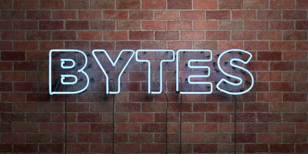bytes: BYTES - fluorescent Neon tube Sign on brickwork - Front view - 3D rendered royalty free stock picture. Can be used for online banner ads and direct mailers. Stock Photo