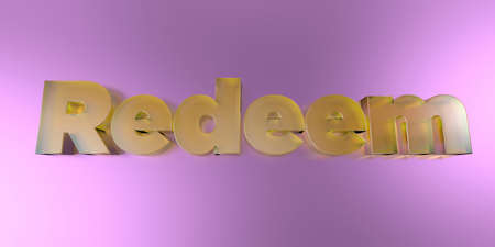 Redeem - colorful glass text on vibrant background - 3D rendered royalty free stock image.
