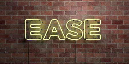 EASE - fluorescent Neon tube Sign on brickwork - Front view - 3D rendered royalty free stock picture. Can be used for online banner ads and direct mailers. Standard-Bild