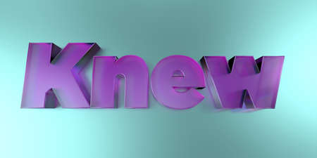 knew: Knew - colorful glass text on vibrant background - 3D rendered royalty free stock image.