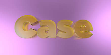 Case - colorful glass text on vibrant background - 3D rendered royalty free stock image.