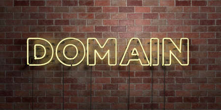 domains: DOMAIN - fluorescent Neon tube Sign on brickwork - Front view - 3D rendered royalty free stock picture. Can be used for online banner ads and direct mailers.