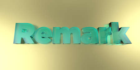 Remark - colorful glass text on vibrant background - 3D rendered royalty free stock image.