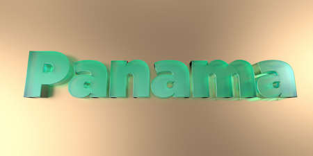 Panama - colorful glass text on vibrant background - 3D rendered royalty free stock image.