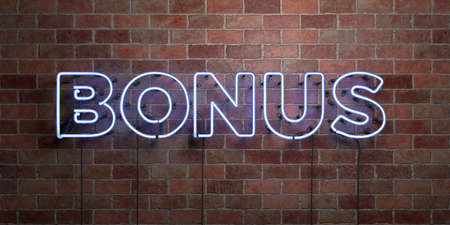 BONUS - fluorescent Neon tube Sign on brickwork - Front view - 3D rendered royalty free stock picture. Can be used for online banner ads and direct mailers.