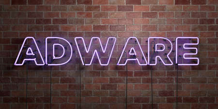 ADWARE - fluorescent Neon tube Sign on brickwork - Front view - 3D rendered royalty free stock picture. Can be used for online banner ads and direct mailers. Foto de archivo