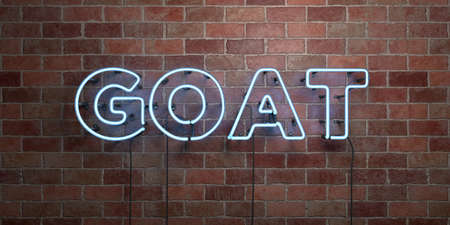 GOAT - fluorescent Neon tube Sign on brickwork - Front view - 3D rendered royalty free stock picture. Can be used for online banner ads and direct mailers.