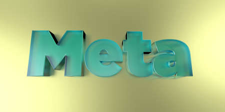 meta: Meta - colorful glass text on vibrant background - 3D rendered royalty free stock image.