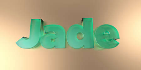 Jade - colorful glass text on vibrant background - 3D rendered royalty free stock image.