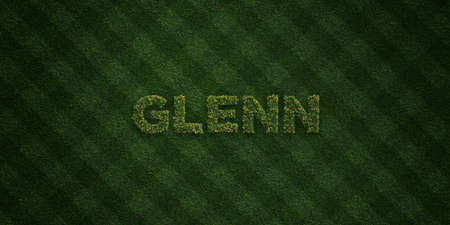 GLENN - fresh Grass letters with flowers and dandelions - 3D rendered royalty free stock image. Can be used for online banner ads and direct mailers.