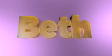 Beth - colorful glass text on vibrant background - 3D rendered royalty free stock image.