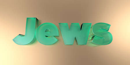 Jews - colorful glass text on vibrant background - 3D rendered royalty free stock image. Foto de archivo