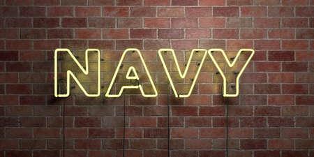 해군 - 형광등 네온 튜브 brickwork 전면보기 - 3D 렌더링 된 로열티 프리 스톡 사진을. 온라인 배너 광고 및 다이렉트 메일러에 사용할 수 있습니다. 스톡 콘텐츠 - 73153515